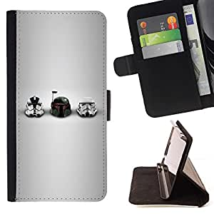 For Apple Iphone 5 / 5S Star Wars Helmets Beautiful Print Wallet Leather Case Cover With Credit Card Slots And Stand Function