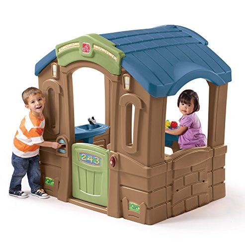 Step2 Play Up Picnic Cottage Playhouse for Toddlers - Durable Indoor Outdoor Children Toy House with Molded Table and Seats, Multicolor