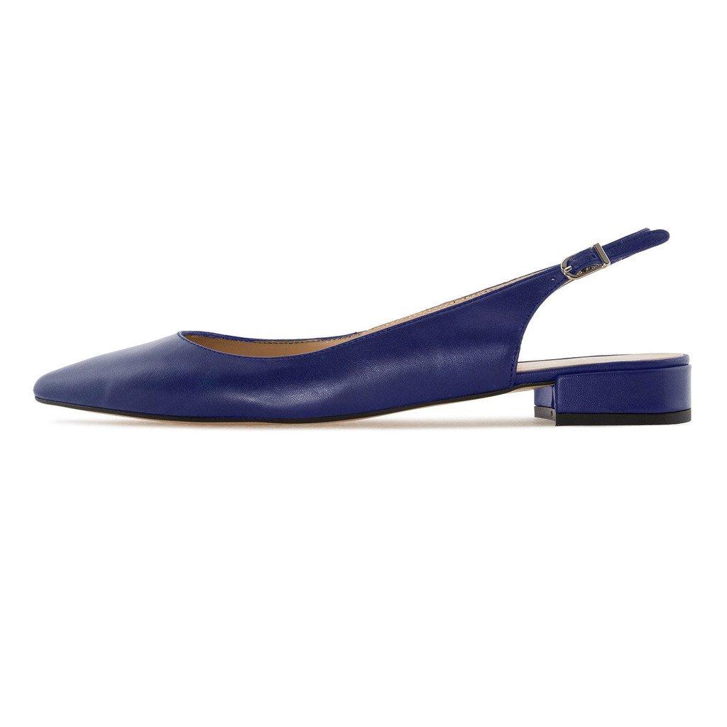 Eldof Women Low Heels Pumps | Pointed Toe Slingback Classic Flat Pumps | 2cm Classic Slingback Elegante Court Shoes B0732WJQRB 8 B(M) US|Blue e584aa