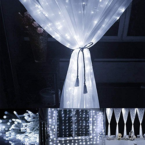 Window Curtain Lights, 300 LED,9.8ft x 9.8ft, 8 Modes Linkable, Waterproof Icicle Fairy Lights,Christmas String Light for Wedding Christmas Holiday Home Patio Bedroom Decoration - Cool White