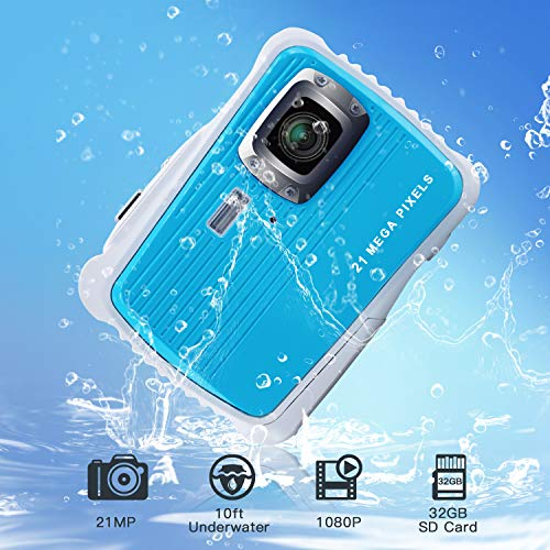 "Kids Waterproof Camera 21MP HD 1080P Video Recorder Camcorder Waterproof Digital Camera for Children 2.0"" LCD Display 8X Digital Zoom Floating Wrist Strap 32GB SD Card Underwater Camera for Snorkeling"
