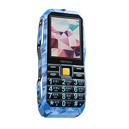 - Cellpphone with Big Button Outdoor Shockproof Mp3/Mp4 Power Bank Antenna Analog Rugged Mobile Phone Flashlight FM for Older/Kids (Blue)
