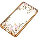Little Flower Bling Thin Silicone Back Case Cover for Samsung Galaxy J7 2016 edition (Gold Pink)