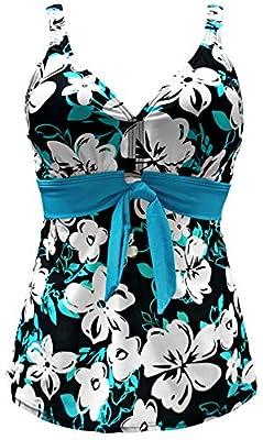 Gabrielle-Aug Women's Vintage Floral Tie-Front Tankini Top Swimsuit(FBA)