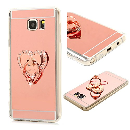 Galaxy Note 5 Case - Mavis's Diary 3D Handmade Bling Crystal Elegant Love Heart with Metal Ring Stand Holder 360-degree Rotating Design Rose Gold Mirror Soft TPU Clear Cover for Samsung Galaxy Note 5 (Love Vine Ring)