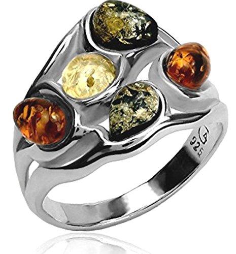 Multi Color Gems Ring (Multicolor Amber Sterling Silver Gem Ring)