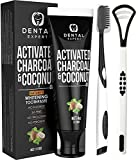 Activated Charcoal Teeth Whitening Toothpaste - Destroys Bad Breath with Tongue Scraper Cleaner Best Natural Black Tooth Paste Kit - Mint Flavor - Herbal Decay Treatment - Removes Coffee Stains