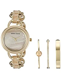Anne Klein Women's AK/2750LPST Gold-Tone and Pink Marbleized Open Link Bracelet Watch and Bangle Set