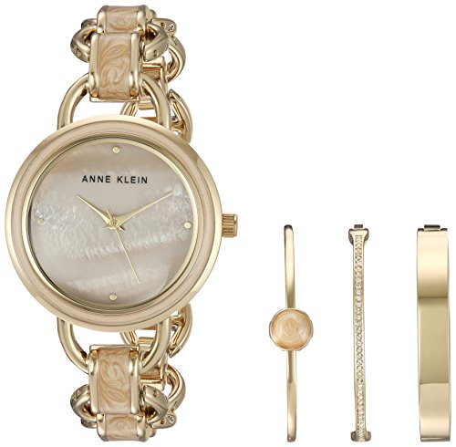 Open Round Link - Anne Klein Women's AK/2750LPST Gold-Tone and Tan Marbleized Open Link Bracelet Watch and Bangle Set