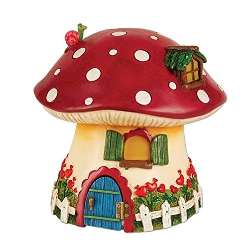 Fairy Garden Mini - Red Mushroom Solar Fairy Cottage (Fence Wings Picket)