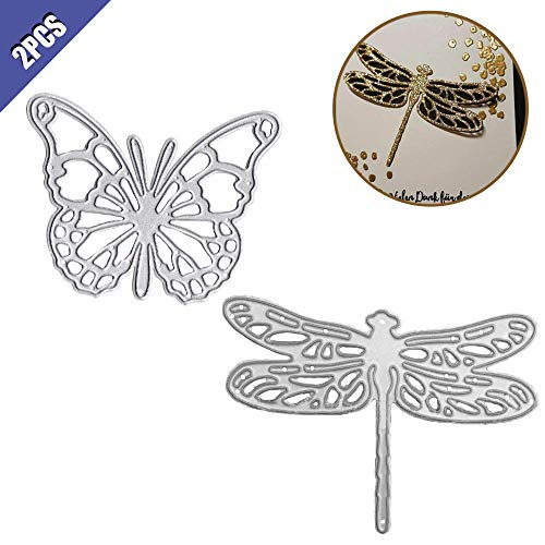 Butterfly Scrapbooking Paper - Comidox Butterfly Dragonfly Cutting Dies Stencils DIY Scrapbooking Decor Embossing Album Post Card Making Paper Craft 2Pcs