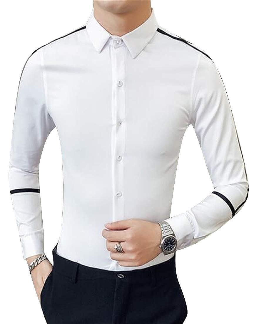 GRMO Men Long Sleeve England Slim Fit Hair Stylist Work Fashion Button Down Dress Work Shirt