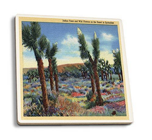 Lantern Press Joshua Trees and Desert Wild Flowers View - Vintage Halftone (Set of 4 Ceramic Coasters - Cork-Backed, Absorbent)