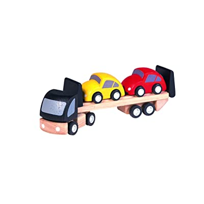 PlanToys Wooden Car Transporter Truck (6043)   Sustainably Made from Rubberwood and Non-Toxic Paints and Dyes: Toys & Games