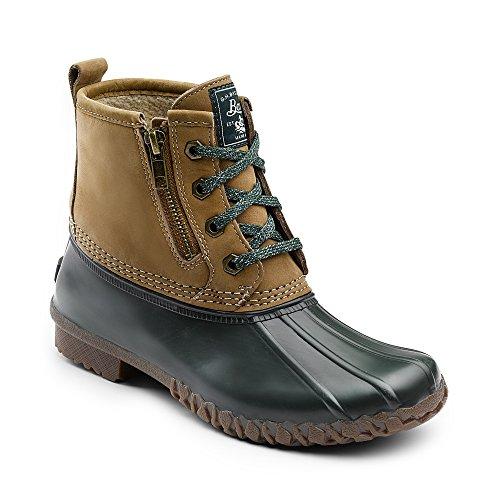 Bass Leather Boot - G.H. Bass & Co. Women's Danielle Rain Boot, Tan/Hunter Green, 7 M US
