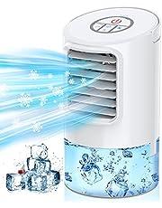Nuaer-luchtkoeler, Draagbare 3-in-1 Verdampingskoeler, Persoonlijke Mini-airconditioner, Bureauventilator met Timer van 2 uur / 4 uur en 80 ° Oscillerend voor Kantoor en Thuis