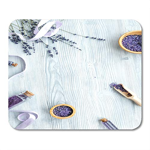 "Price comparison product image Nakamela Mouse Pads Aroma White Spa Organic Cosmetics with Lavender on Wooden Top View Purple Table Beauty Mouse mats 9.5"" x 7.9"" Mouse pad Suitable for Notebook Desktop Computers"