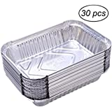 OUNONA 30 Pack 570ml Disposable BBQ Drip Pan Tray Aluminum Bread Loaf Pans Foil Tin Liners for Grease Catch Pans Replacement Liner Trays Without Cover
