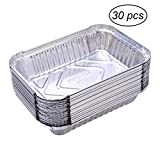 WLS 30pcs 570ml Disposable BBQ Drip Pan Tray Aluminum Foil Tin Liners for Grease Catch Pans Replacement Liner Trays without Cover