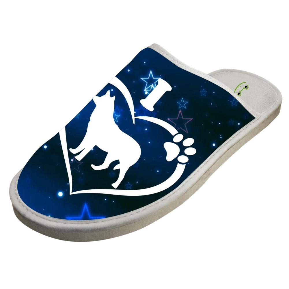 KOUY I Love Husky Closed Toe Cotton Slippers Warm Soft Indoor Shoes Non-watertight 6 B(M) US