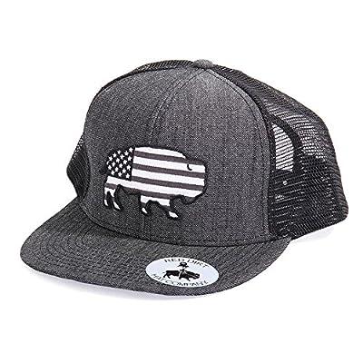 Red Dirt Hat Co. Men's Heather Black Greyscale USA Buffalo Cap