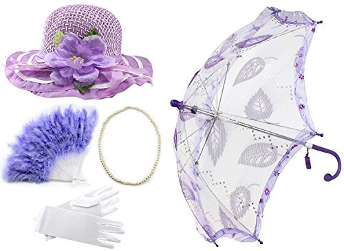 Enimay Girl's Costume Tea Party Set Fan Hat Necklace Umbrella Gloves Purple]()
