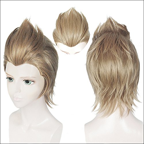 Anogol Hair Cap+Halloween Costume Cosplay Wig Short Light Brown Wig For ()