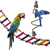 OnePlus Bird Ladder Parrot Toys Cage Accessories for Cockatiel Conure Parakeet Small Macaw (32.6'' Ladder with 59'' Rope Perch)