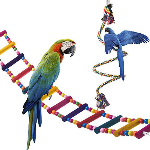 OnePlus Bird Ladder Parrot Toys Cage Accessories for Cockatiel Conure Parakeet Small Macaw (32.6