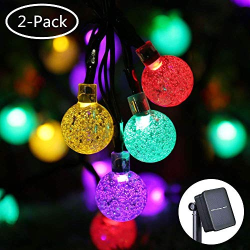 Icicle 2 Pack Solar String Lights, 20ft 30 LED Solar Bubble Globe Lights, Fairy Lighting for Indoor/Outdoor, Patio, Lawn, Garden, Wedding, Party, Christmas Decorations(Multi-Color)