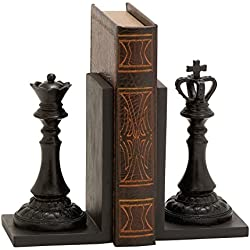 Benzara Royal Polystone Chess Bookend Polyresin