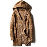 ღ Ninasill ღ Mens Autumn&Winter Casual Cardigan Sweater Loose Fit Knitting Sweaters (L, Khaki)