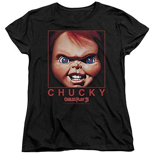 A&E Designs Childs Play Womens T-Shirt Chucky Portrait Black Tee, Medium