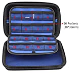 imoli Carrying Case for Nintendo New 3DS XL, 3DS XL, 16 Game Holders, With Shoulder Strap (Black and Blue)