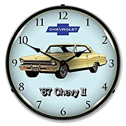 1967 Chevy II Nova Super Sport LED Wall Clock, Retro/Vintage, Lighted, 14 inch
