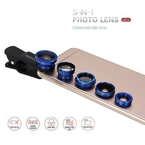 MEMTEQ® 5 in 1 Clip-On Photo Lens, 180 Degree Fisheye + 0.65X Wide Angle + Macro + CPL Filter + 2X Telephoto Lens, Camera Lens for iPhone 6 / 6 Plus, iPhone 5s 5c 5 4s 4, Samsung, iPad mini / air (Blue)