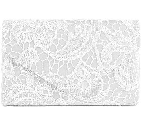 Jubileens Women's Elegant Floral Lace Envelope Clutch Evening Prom Handbag Purse (White) (Clutch Purse)