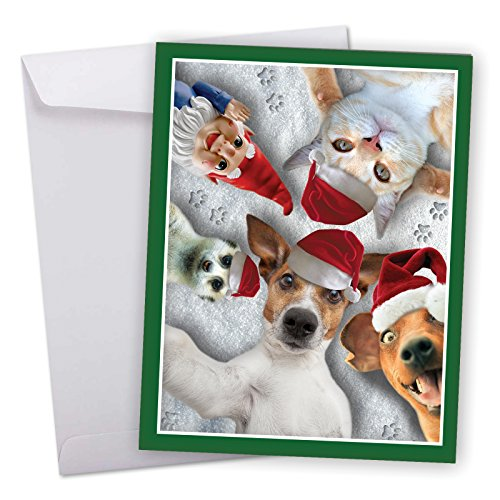 J2373GXSG Jumbo Merry Christmas Greeting Card: Animal Selfies, Featuring Wild and Wacky Animal Friends Taking Picture of Themselves With Envelope (Large Size: 8.5