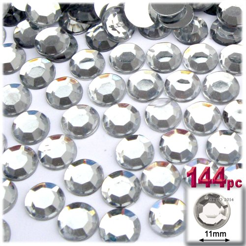 The Crafts Outlet 144-Piece Loose Flatback Acrylic Round Rhinestones, 11mm, Crystal Clear ()