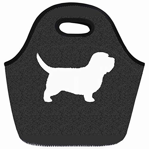 Ahawoso Reusable Insulated Lunch Tote Bag Basset Hound Silhouette Animal Zippered 10X11 Neoprene School Picnic Gourmet Lunchbox