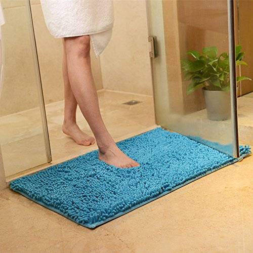 Squishy Matt - 50x80cm Chenille Soft Mat Machine Washable Bathroom Anti Slip Absorbent Carpet Doormat Rug - Spongy Flatness Woolly Muted Velvety Dull Softened Matte Flossy - 1PCs