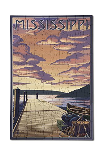 Mississippi - Dock Scene and Lake (12x18 Premium Acrylic Puzzle, 130 Pieces) -  Lantern Press, LANT-3P-AC-PZ-69022-12x18
