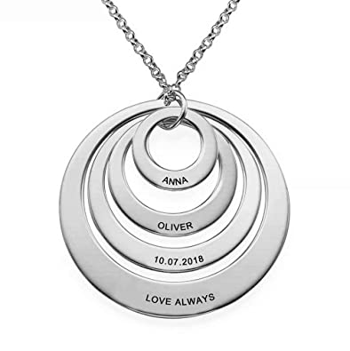 5fb7a9796ae9a Personalised Engraved 4 Disc Kids Name Necklace for Mother -Custom Made  with Any 4 Names