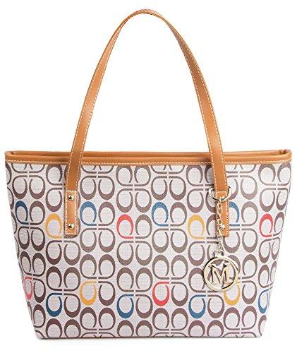 Micom Casual Signature Printing Pu Leather Tote Shoulder Handbag with Metal Decoration for Women (P Signature )