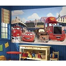 RoomMates Disney Cars Friends to the Finish XL Chair Rail Prepasted Mural, 6-Feet x 10.5-Feet, Ultra-Strippable