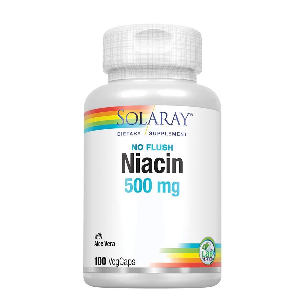 Solaray Niacin No Flush Capsules, 500 mg, 100 Count