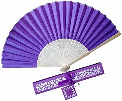 10pcs Folding Silk hand Fan versus Gift Box Party or wedding Gifts (Dark purple) WEN FEIYU