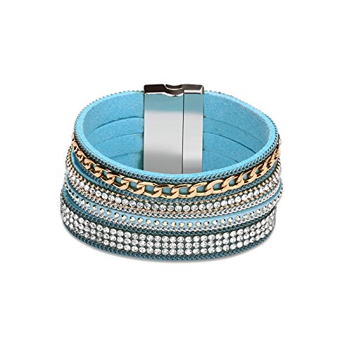 MoAndy Leather Bracelet For Women Multilayer Chain And Crystal Overlay Blue Chain