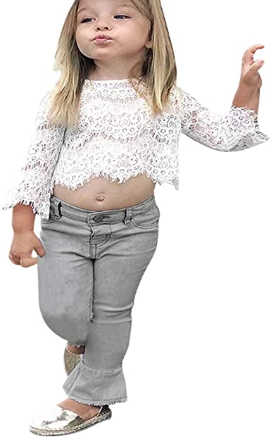 Traje de bebé para niñas Ropa bebé Camiseta de Encaje Top Manga Larga Blusa Blanca + Pantalones de Mezclilla, Pantalones Vaqueros para bebés recién Nacidos Conjuntos niña: Amazon.es: Ropa y accesorios