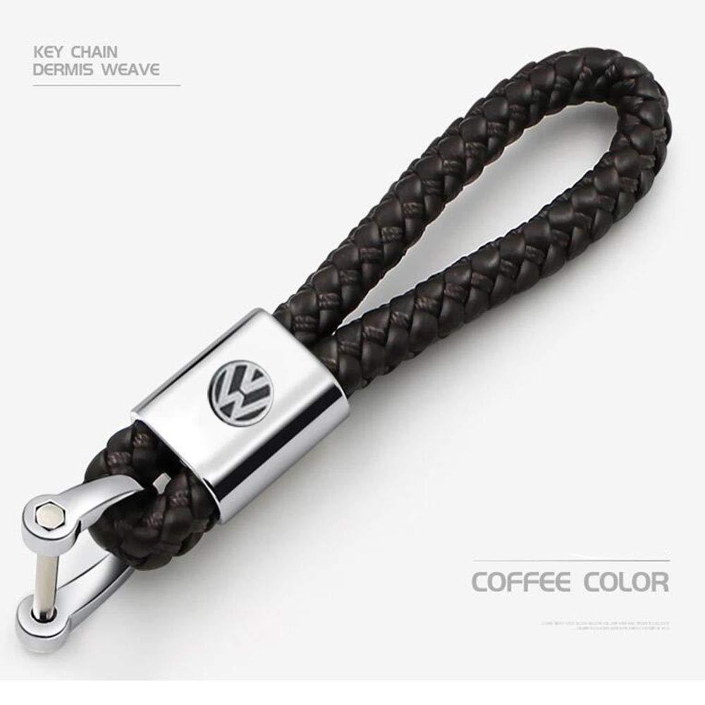 2pcs cuir v/éritable voiture logo trousseau cl/és accessoires avec Zinc Alloy cadeau pour homme et femme